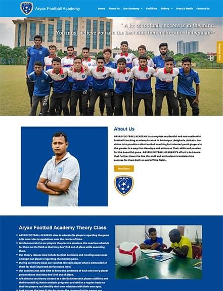 aryax football academy webtiks